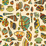 Seashell seamless pattern. Zentangle stylized sea cockleshell seamless pattern. Hand Drawn aquatic doodle vector illustration. Sketch for tattoo or makhenda Stock Photo
