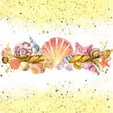 Seashell and ship rope background with sea sand. Royalty Free Stock Photos