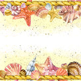 Seashell and ship rope background with sea sand. Royalty Free Stock Image