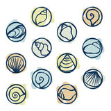 Seashell stamps. Set of seashell stamps - illustration Stock Images