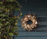 Seashell, starfish, heather and urchin wreath Stock Photography