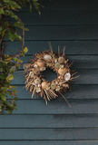 Seashell, starfish, heather and urchin wreath Royalty Free Stock Images