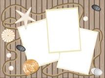 Seashell, stone, seastar on deck background. Seashell, stone, seastar and rope on deck background with text area frame Royalty Free Stock Photography