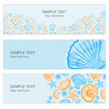 Seashell summer banner. With draw, icon created with illustrator watercolor brush Stock Images