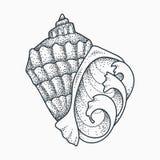 Seashell tattoo design. Seashell with ocean waves vector illustration. Blackwork dotwork tattoo design stock illustration