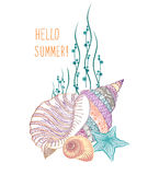 Seashell underwater background. Summer holidays cover with sea inhabitants Royalty Free Stock Images
