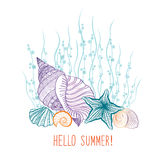 Seashell underwater background. Summer holidays cover with sea inhabitants Royalty Free Stock Photo