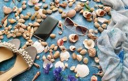 Free Seashell Women Accessories Summer Sea Holiday Sunglass Phone White Sandals Pearl Beach Nature Background Stock Photo - 151239570