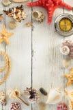 Seashell  on wooden background Stock Photo