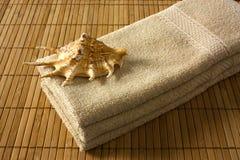 Seashell y tres toallas marrones claras Imágenes de archivo libres de regalías
