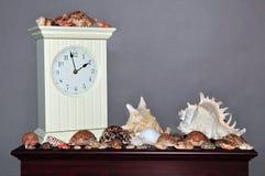 Seashellansammlung mit Borduhr auf Regal Lizenzfreie Stockfotografie