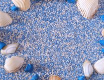 Seashells с солью для принятия ванны стоковые изображения