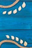 Seashells и веревочка на голубых досках, copyspace Стоковые Фото