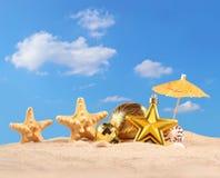 Seashells и морские звёзды украшений рождества на песке пляжа Стоковая Фотография