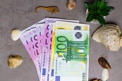 Seashells и уплотнение с деньгами евро/деньгами праздника Деньги на каникула стоковая фотография rf