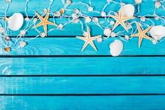 Seashells на голубой деревянной предпосылке с местом для Стоковая Фотография RF