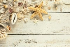 Seashells при рыболовная сеть помещенная на старых деревянных планках в vintag Стоковые Изображения RF