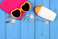 Seashells and accessories for summer and vacation, copy space for text Royalty Free Stock Photo