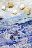Seashells on a background of white and blue paint Royalty Free Stock Photo