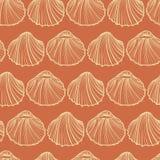 Seashells bezszwowy deseniowy wektor Pomarańczowy tło Zdjęcia Royalty Free
