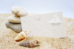 Seashells with blank card Royalty Free Stock Images