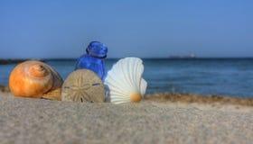 Seashells with Bottle on the Beach. Seashells with Blue Bottle on the Beach at Sunset stock photos