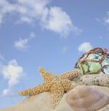 Seashells dalej sand z szklaną piłką Zdjęcia Royalty Free