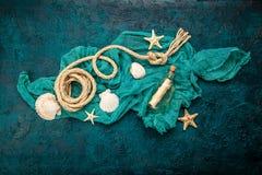 Seashells on dark turquoise background Stock Photo