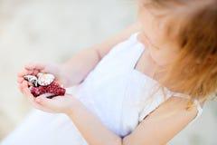 Seashells de fixation de petite fille image libre de droits