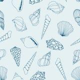 seashells disegno di contorno Vector il reticolo senza giunte illustrazione di stock