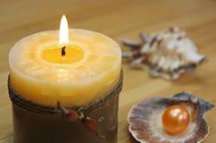 Seashells e candela Immagine Stock Libera da Diritti
