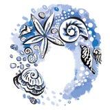 Seashells en un fondo azul ilustración del vector