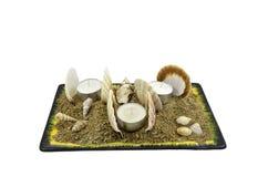 Seashells et bougies image libre de droits