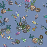 Seashells and fish random pattern. Colorful illustration Stock Photography