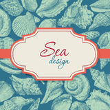 Seashells frame. Hand drawing seashells frame card background. Vector illustration Stock Photo