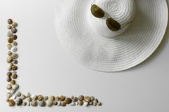 Seashells frame and summer fashion set up. royalty free stock photo