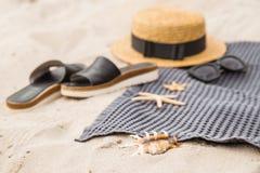 Seashells gestalten auf Sandhintergrund Strandmaterial auf Sand Stockfotografie