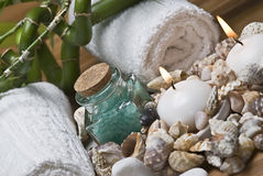 Seashells and hygiene items. Stock Photo