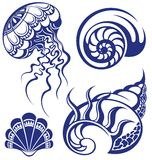 Seashells impostati Fotografia Stock