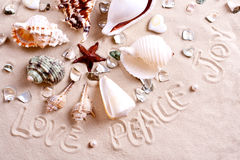 Seashells In Sand With Text Stock Photography