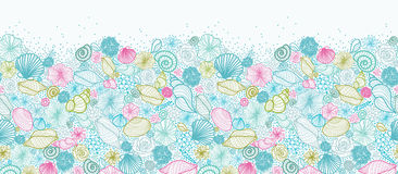 Seashells line art horizontal seamless pattern Stock Image