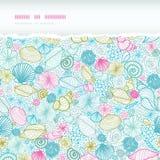 Seashells line art horizontal torn seamless Stock Images