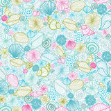 Seashells line art seamless pattern background Royalty Free Stock Photos