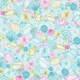 Seashells line art seamless pattern background Royalty Free Stock Photos