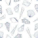 seashells Modello senza cuciture di vettore per progettazione illustrazione di stock