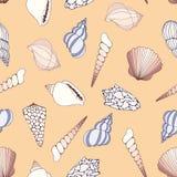 seashells Modello senza cuciture di vettore per progettazione illustrazione vettoriale