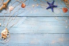 Seashells na błękitnych desek urlopowym wakacyjnym tle Obraz Stock