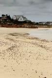 Seashells na piasku z domem w plecy ziemi w portu St Obraz Royalty Free