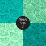 Seashells nautilus seamless pattern set vector. Doodle background. Royalty Free Stock Photo
