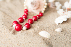 Seashells and  necklace on sand at the beach Royalty Free Stock Photo